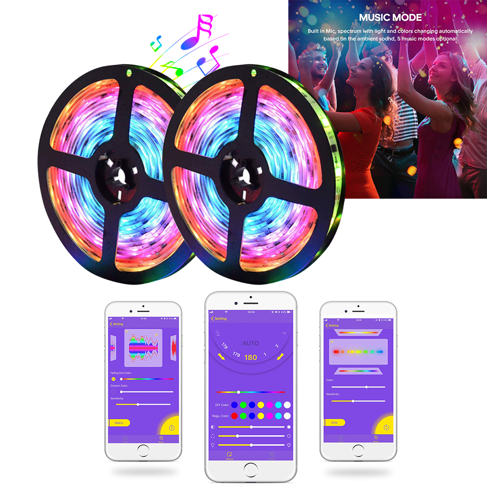Music Rgb Led Strip Lights 5050 Bluetooth Smart Phone App Controlled Sound Activated Disco Light Dj Club Christmas Party Light Led Strips Aliexpress