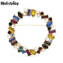 Wuli & baby разноцветные Круглые Броши Стразы с жемчугом для
