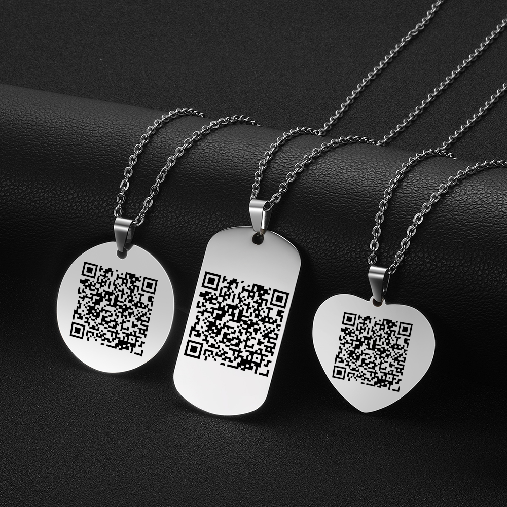 Personalized Stainless Steel Custom QR Code Pendant Special Music Profess Barcode Necklace Gifts For Lovers Friendship