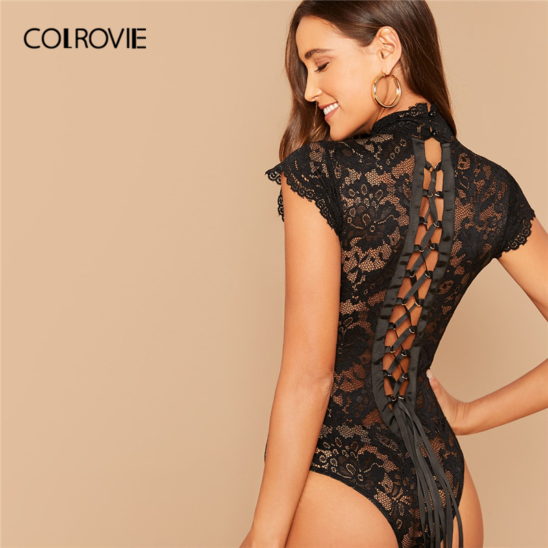 COLROVIE Black Tie Up Back Lace Sheer Bodysuit Women Cap Sleeve Skinny Bodysuit 2020 Glamorous Stand Collar Sexy Bodysuits