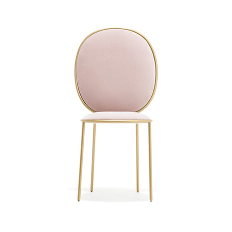 Nordic Pink Dining Chair Coffee Shop Table    Hotel Stool Princess Metal  Adult  Back