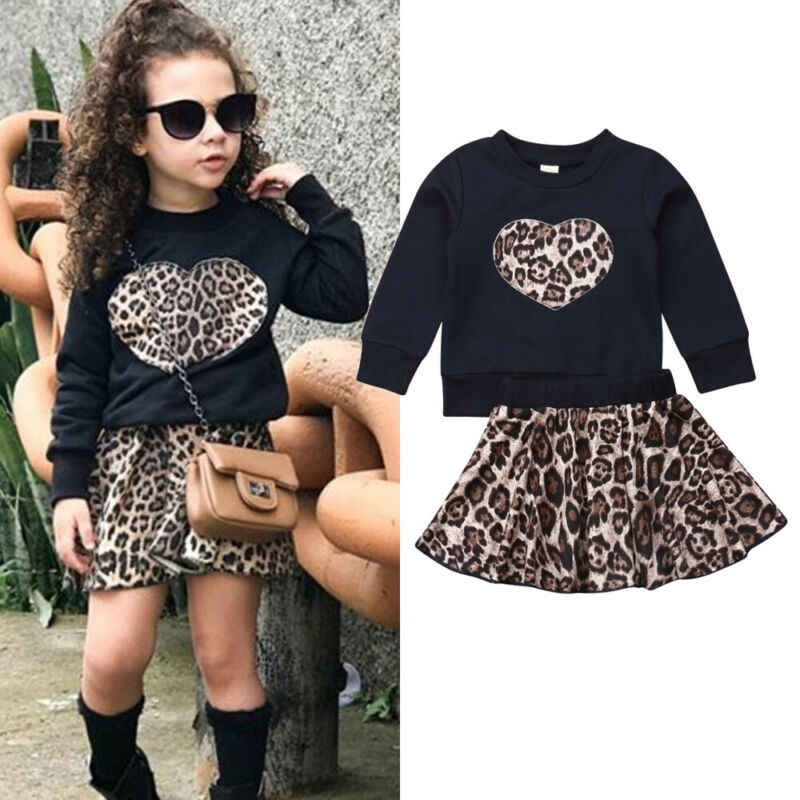 2Pcs Toddler Baby Girl Autumn Winter Clothes Set Long Sleeve Sweatshirt Tops Leopard Mini Skirt Outfits Clothes Set