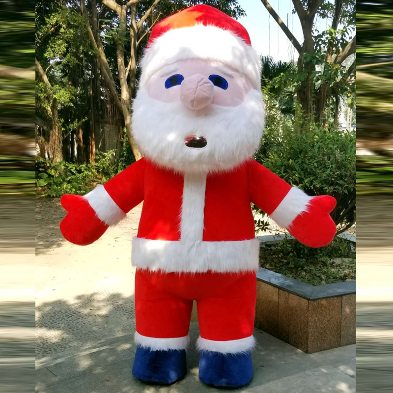 Christmas Outdoor Advertising Party Inflatable Santa Claus Furry Mascot Costume Suits Cosplay Dress Outfits Clothing Halloween