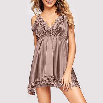 Women Sexy Sleepwear Summer Sling V-neck Lace Splice Nightdress Nightgown Lingerie Satin Sexy Backless Femme Nightie Homewear