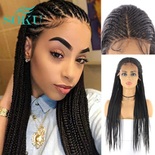 Braid Wigs African Middle-Part SOKU Black Synthetic Women for Long-Tendy
