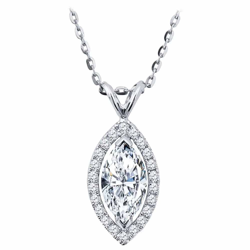 Huitan Fashion Contracted Style Marquise Shape Women Pendent Necklaces Versatile Brilliant Cubic Zirconia Female Fashion Jewelry