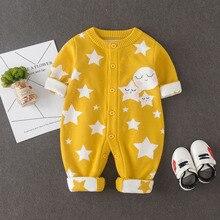 Мужской Детский цельнокроеный свитер 03-6 месяцев для новорожденных детская одежда двойной Слои толстые младенцев осенне-зимний свитер