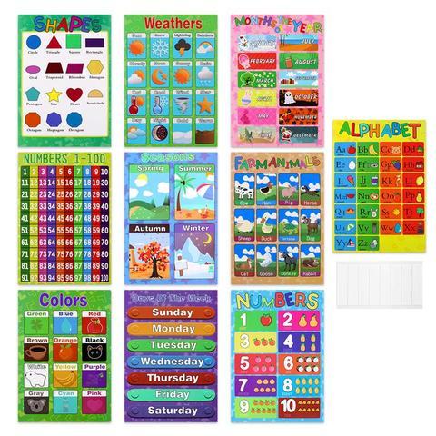 10 pcs cartazes educacionais aprendizagem engracada criativo vivido ferramentas de ensino suprimentos graficos para criancas