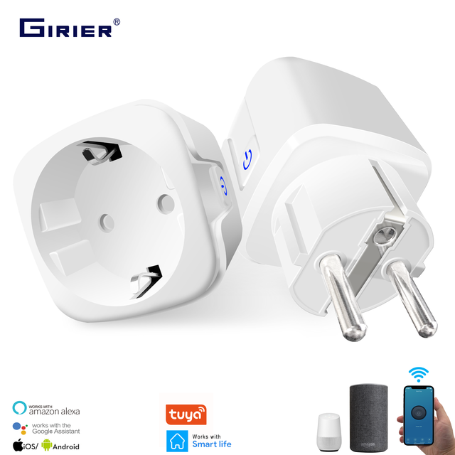 16A EU Smart Wifi Power Plug with Power Monitor Smart Home Wifi Wireless Socket Outlet Works with Alexa Google Home Tuya App 1