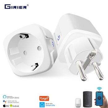 16A EU Smart Wifi Power Plug with Power Monitor Smart Home Wifi Wireless Socket Outlet Works with Alexa Google Home Tuya App