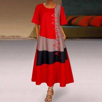 2020 женское богемное платье средней длины в стиле пэчворк, летние вечерние платья с коротким рукавом, женское длинное повседневное пляжное платье с круглым вырезом