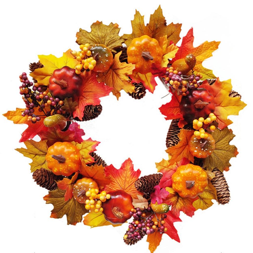 Autumn Simulation Wreath Pumpkin / Cotton / Pine Cone Garland Christmas Thanksgiving Home Decor Door Wall Hanging Decoration