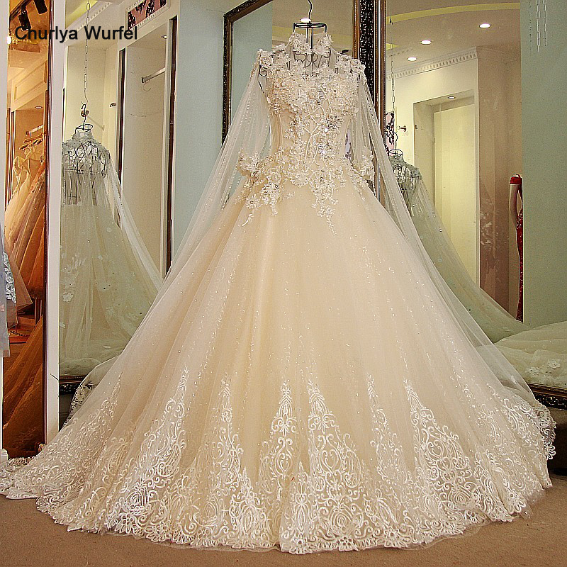 LS27790 11.11 Wedding Dress 2019 High Neck Bling Rhinestone Ball Gown Sexy Transparent Back Lace Wedding Gowns With Long Cape