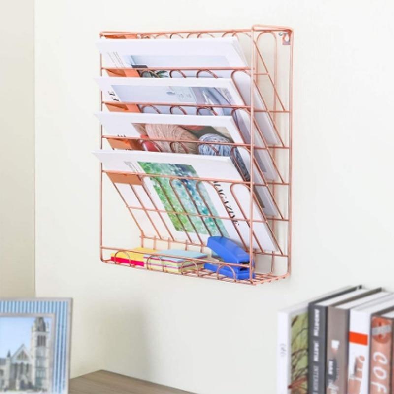 European Simple Rose Gold Iron Bookshelf Desktop Books Magazine Storage Rack Creative Storage Rack Folder Rack|  -