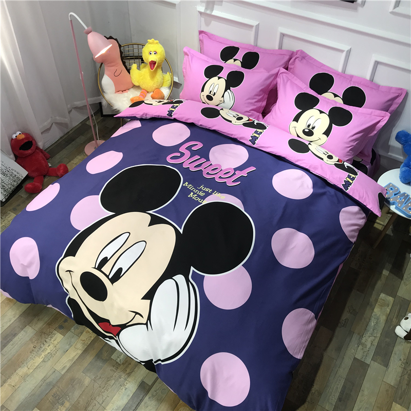 Disney Pink Dot Minnie Michie Pattern Bedding Set for Girls and Children Bedroom Decorative Quilt Cover Pillowcase Linens