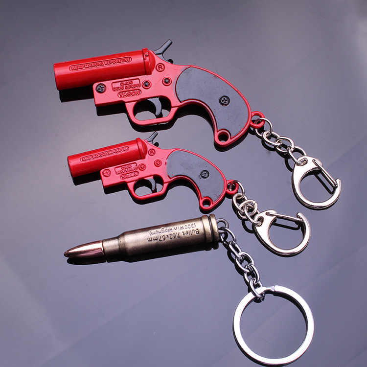 Yeni oyun Playerunknown's Battlegrounds PUBG anahtarlık parlama tabancası kırmızı alaşım kolye anahtarlık erkekler llaveros takı hediyeler anahtarlık