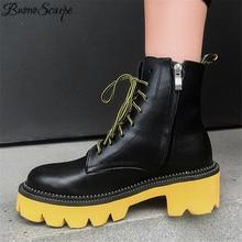 Buono scarpe cor misturada botas de tornozelo femininas rendas até tornozelo botas mujer fundo grosso botas de couro genuíno fenimina não deslizamento