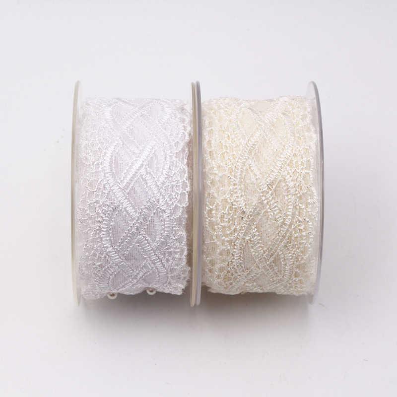 2019 di alta qualità più recenti materiali tulle africano bianco/crema guipure tessuto di pizzo ribbon trim applique per la Decorazione di nozze