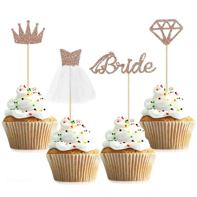 12 шт Алмазные коронки кольцо свадебное платье для капкейка-невеста торт Топпер для свадьбы свадебный душ День рождения украшения