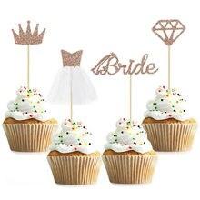12 pçs diamante coroa anel vestido de casamento cupcake toppers bolo de noiva topper para casamento nupcial chuveiro festa de aniversário decorações