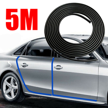 Mayitr 1pc Flexible Durable 5m Black Car Door Edge Protector Trim Anti-scratch Protective Rubber Strip