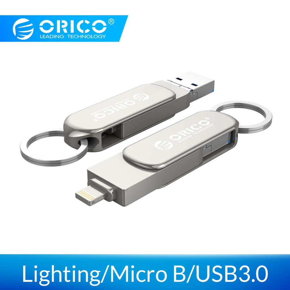 ORICO 3 en 1 U-disco 64G 32G unidad Flash USB iluminación Micro B USB3.0 interfaz de disco Flash soporte para IOS/android/PC sistemas Adaptador usb otg para iPhone iPad iOS13 Lightning a USB 3,0 adaptador u-disk ratón teclado convertidor Lightning A Adaptador de cámara