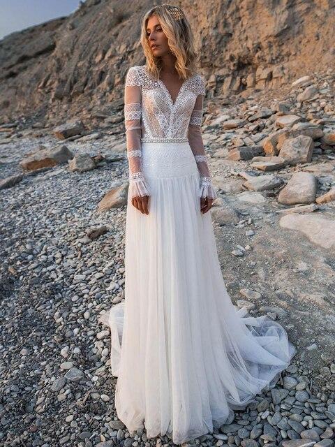 LORIE Beach Bohemian Wedding Dresses V Neck Long Sleeves Lace Appliques Dream Bridal Gowns Boho A Line Princess Gowns Plus Size 4