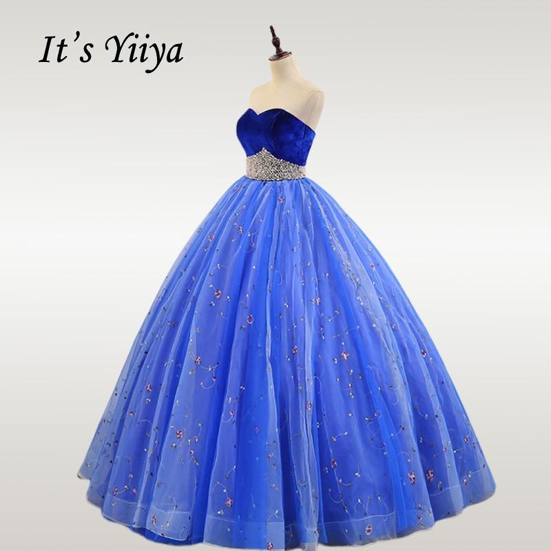 It's YiiYa Wedding Dress Elegant Strapless Beading Floor Length Wedding Dresses Blue Off Shoulder Plus Size Robe De Mariee CH073