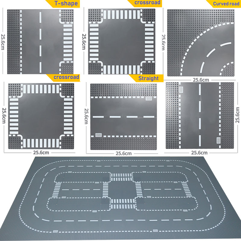City Road Street Baseplate Straight Crossroad Curve T-Junction Building Blocks 7280 7281 Compatible with legoe City Base Plate