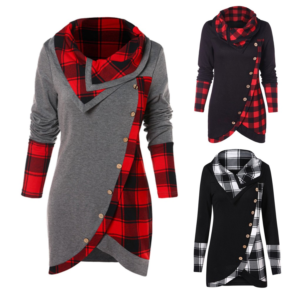 Blouse Women Long Sleeve Irregular Hem Plaid Button Turtleneck Tartan Tunic Sweatshirt Pullover Tops