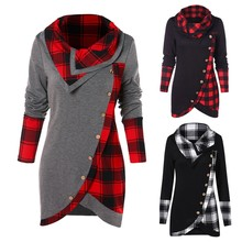 Blouse Women Long Sleeve Irregular Hem Plaid Button Turtleneck Tartan Tunic Sweatshirt Pullover Tops belted cuff mixed print stepped hem blouse