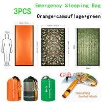 3 pçs saco de dormir de emergência térmica bivvy saco  leve sobrevivência saco de dormir  cobertura de sobrevivência para acampar  caminhadas  viagens