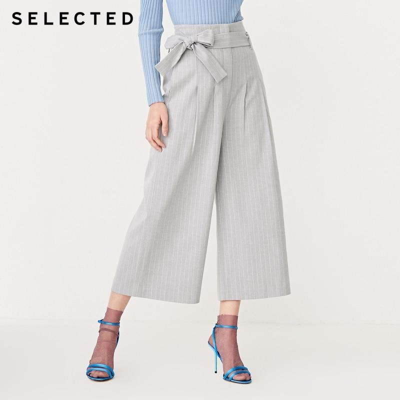 SELECTED Women's High-rise Striped Wide-leg Capri Pants S|419114527