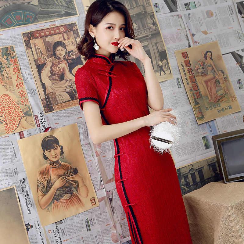 2019 Modern Cheongsam kadın kısa dantel Qipao çin elbisesi Qi Pao parti Vintage Ao Dai zarif elbise yüksek kalite geliştirmek