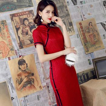 2019 nowoczesne Cheongsam kobiety krótka koronkowa Qipao chińska sukienka Qi Pao Party Vintage Ao Dai elegancka sukienka wysokiej jakości poprawić tanie i dobre opinie spandex Cheongsams Dzianiny