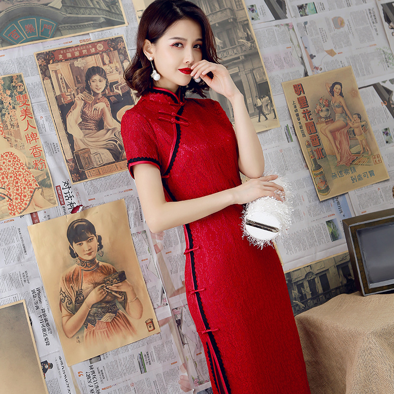 2020  Modern Cheongsam Women Short Lace Qipao Chinese Dress Qi Pao Party Vintage Ao Dai Elegant Dress High Quality Improve