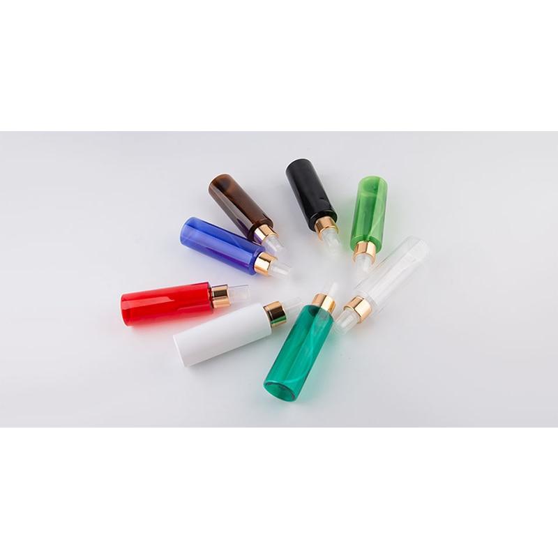 50pc/lot  Empty Transparent Perfume Spray Bottle 100ml Clear Plastic Bottle With Gold Aluminum Mist Sprayer Pump Container-4