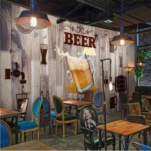 Image 3 - 유럽과 미국 스타일의 복고풍 나무 보드 배경 맥주 벽화 벽지 레스토랑 바 KTV 산업 장식 벽 종이 3D