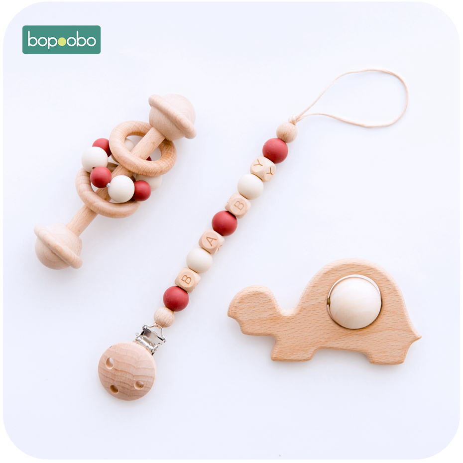 Bopoobo Wooden Teether Animal Rattles Food Grade Silicone Teether Baby Rattle Pacifier Chain 0-12 Months Newborns Infant Product