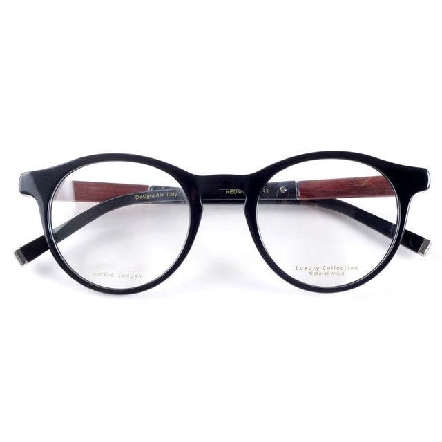 빈티지 광학 라운드 아세테이트 눈 안경 프레임 남성 여성 복고풍 스타일 안경 나무 다리