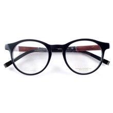 Vintage optical redondo acetato ojo marcos para gafas hombre femenino Retro estilo gafas patas de madera