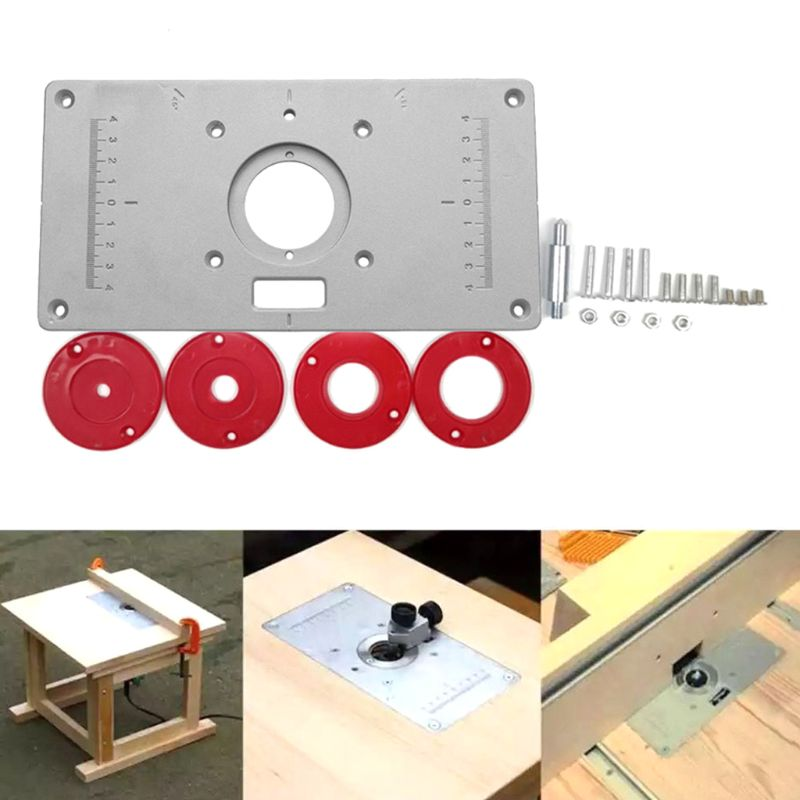 A Set Of Woodworking Bench Tools Includes 1 Router Table Insert Plate, 4 Pieces Router Insert Rings And Some Fixing Screws.