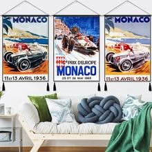 Monaco Racing Travel Vintage ropa colgante línea de algodón pintura cartel decoración para el hogar tapiz colgante de pared regalo