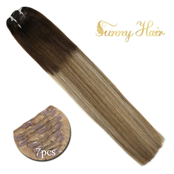 VeSunny Double Weft Clip in Hair Extensions Real Human Hair 7pcs 120gr Clip on Hair Balayage Ombre Brown mix Blonde #3/8/24
