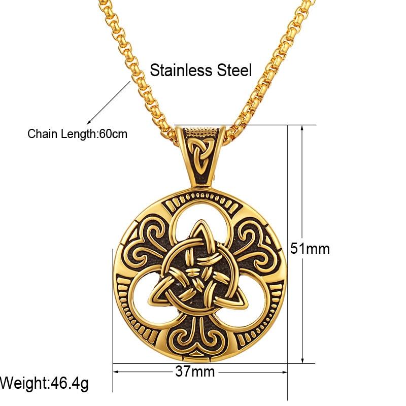 Muški srebrni irski čvor Triquetra ogrlica od nehrđajućeg čelika - Modni nakit - Foto 2