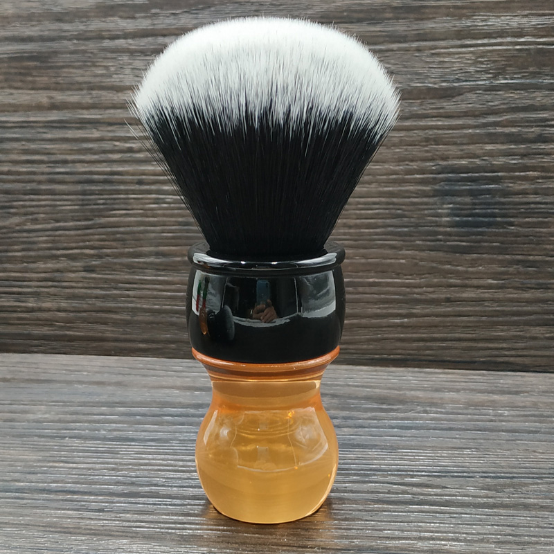 Dscosmetic 26mm Tuxedo Synthetic Hair Knots Citrine Handle Shaving Brush