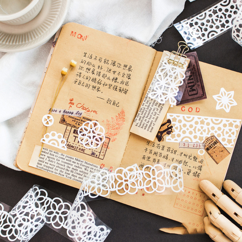 Mohamm Lace Skirt Series Color Washi Masking Tape Release Paper Stickers Scrapbooking Stationery Decorative Tape