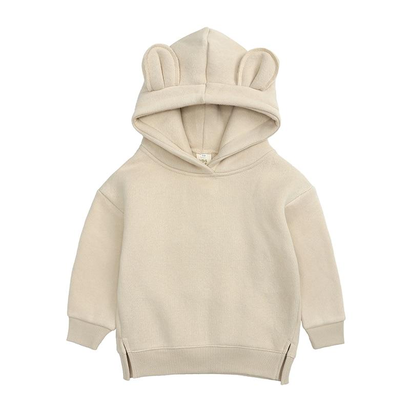 Baby Boys Girls Hoodies Cotton Hooded Sweatshirt Children Fashion Clothes Kids 2021 Infant Cartoon Clothing Pink Gray winter 5