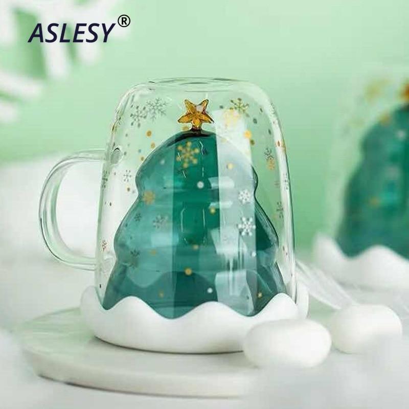2020HOT NEW Creative Christmas Tree Double Glass W// lid Coffee Mug Milk Cup Gift