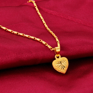 Heart Shape 24k Yellow Gold Pendant Necklace For Women Love Heart Clavicle Chain Gold Necklace Valentine's Day Fine Jewelry Gift